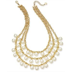 Brand New Charter Club Gold 3 Row Pearl Necklace
